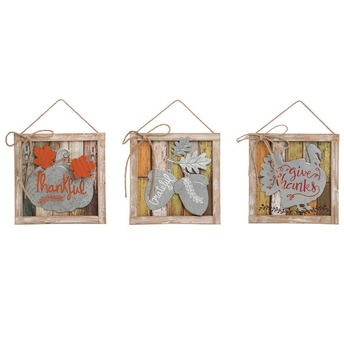MDF Harvest Thankful Signs Assorted J8708
