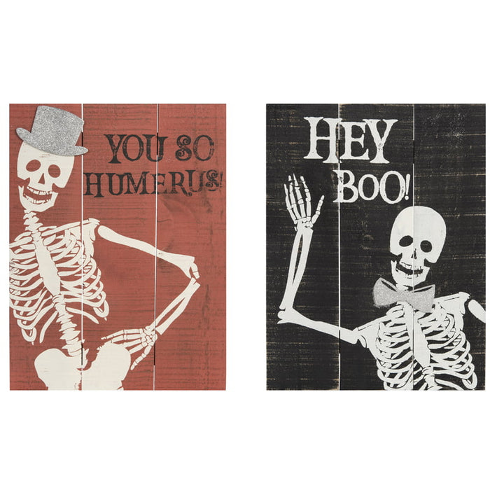 Skeleton Sign Hey Boo or You So Humerus Wood Slat Sign J9241