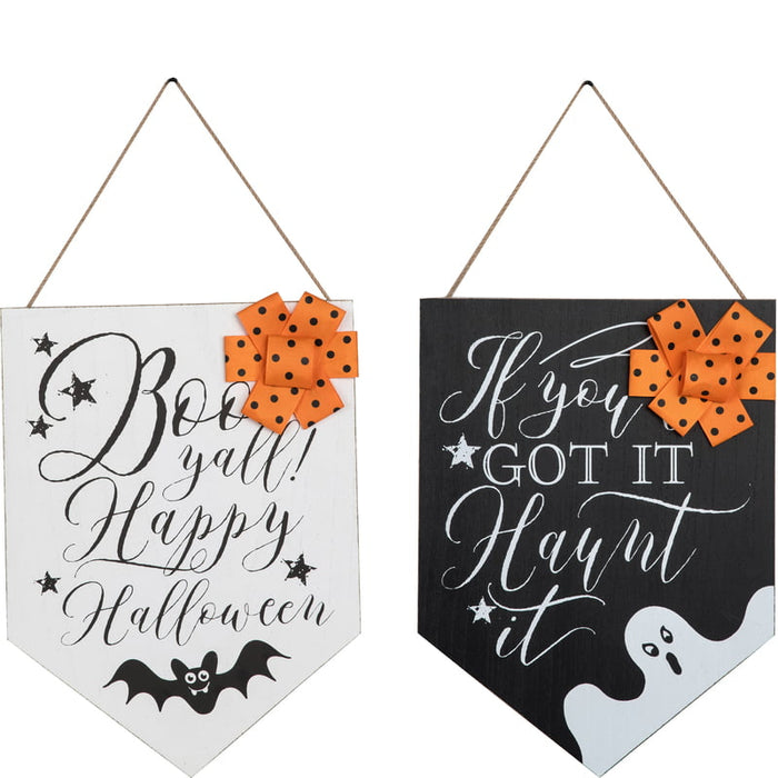 MDF Banner Shape Halloween Sign Assorted J9244