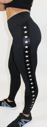 Amina - LaMeraSportswear, black with star details on the side. Booty scrunch. Squat proof. Soft like butter. Comfortable and durable.