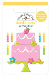 Doodlebug Hey Cupcake Doodle-Pops 3 Dimensional Cardstock Stickers Make A Wish