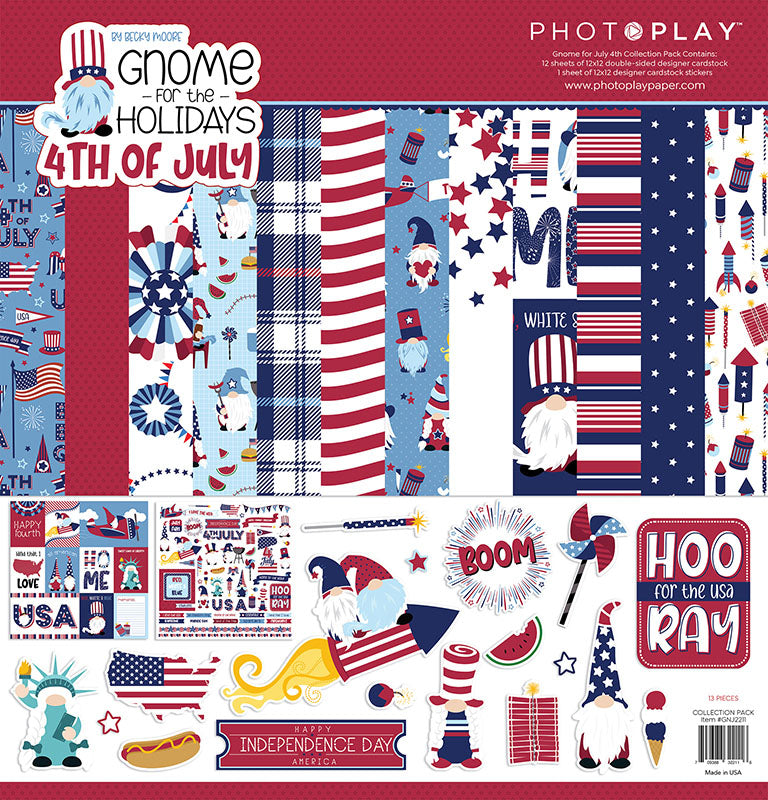 Photoplay GNOME for the Holidays 4th of July 12 x 12 Collection Kit, Ephemera