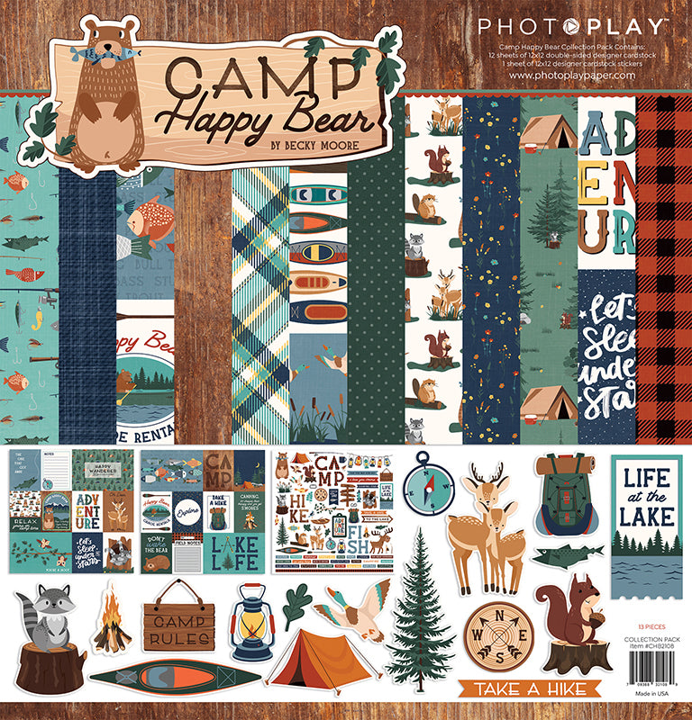 Photoplay CAMP HAPPY BEAR 12 x 12 Collection Pack, 6 x 6 Paper Pad, Ephemera