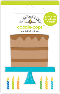 Doodlebug Design Party Time Collection Doodle-Pops 3 Dimensional Cardstock Stickers  Chocolate Cake
