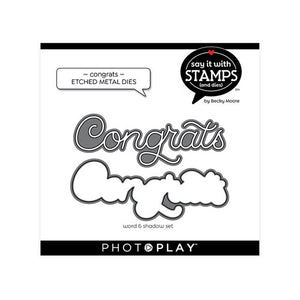 Photoplay Say It With Stamps CONGRATULATIONS Stamp & CONGRATS Die