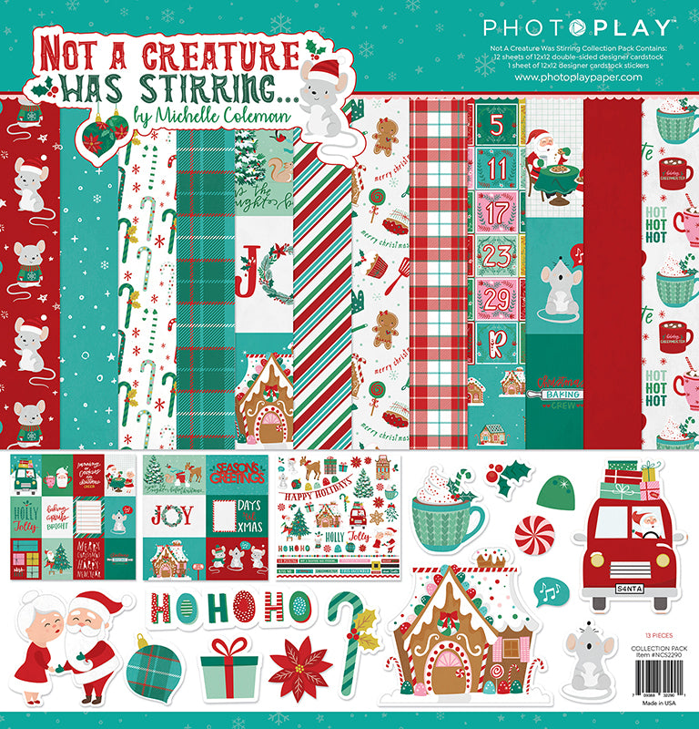 Photoplay Not a Creature Was Stirring 12x12 Collection Pack, Ephemera, 6x6 Paper Pad