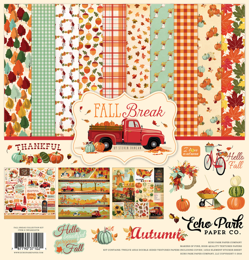 Echo Park Fall Break, Celebrate Autumn 12 x 12 Collection Pack