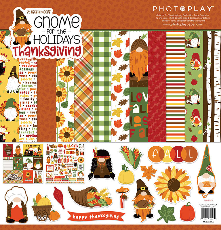 Photoplay Gnome for the Holidays THANKSGIVING 12x12 Collection Kit, 6x6 Paper Pad & Ephemera