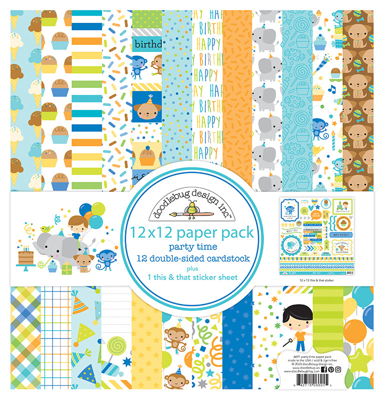 Doodlebug Party Time 12 x12 Collection Paper Pack