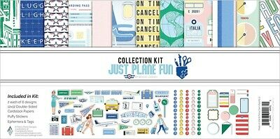 Fancy Pants JUST PLANE FUN Super 12 x 12 Travel Collection Kit includes ephemera, tags and puffy dots