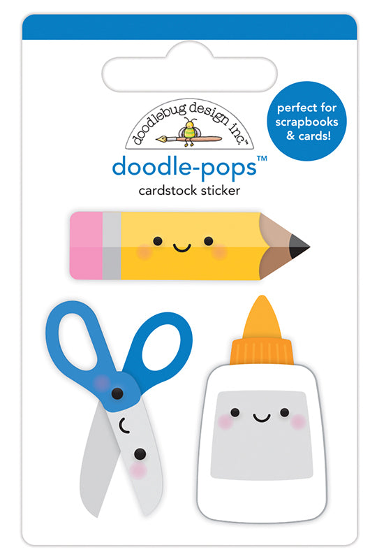 Doodlebug Design  School Days  Doodle-Pops 3 Dimensional Cardstock Stickers Cut & Paste