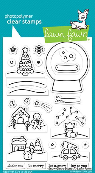 Lawn Fawn Snow Globe Scene Stamp and Die Combo,  Shutter Card Snow Globe Adds-On