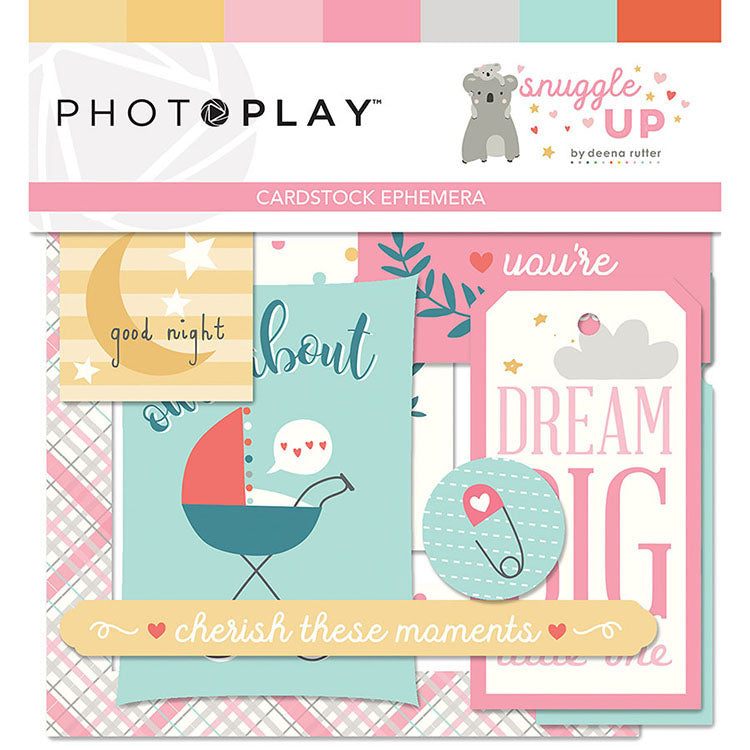 Photoplay Paper SNUGGLE UP GIRL 12 x 12  Collection Pack, Ephemera, Solids Pack