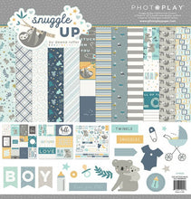 Load image into Gallery viewer, Photoplay Paper SNUGGLE UP Baby BOY 12 x 12  Collection Pack, Ephemera, Solids Pack