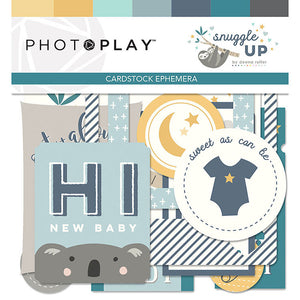 Photoplay Paper SNUGGLE UP Baby BOY 12 x 12  Collection Pack, Ephemera, Solids Pack