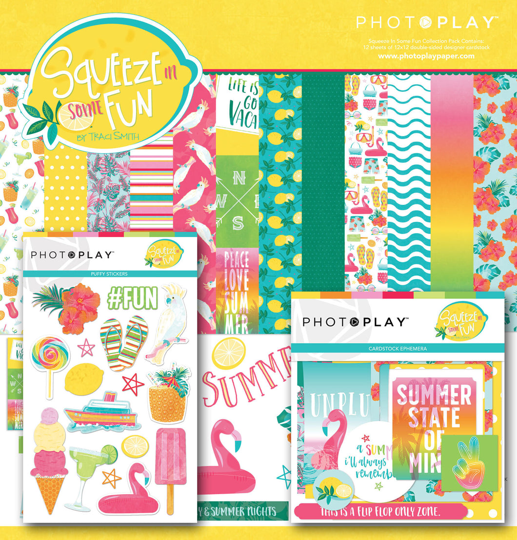 Photoplay Squeeze in Some Fun 12 x 12 MEGA Collection Pack, Ephemera, Puffy Stickers