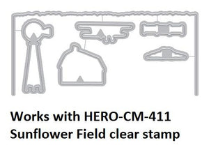 Hero Arts Heroscape Sunflower Fields Layering Stamp and Die Set