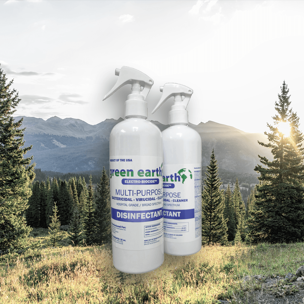 2 bottles of Green Earth household disinfectant outdoors