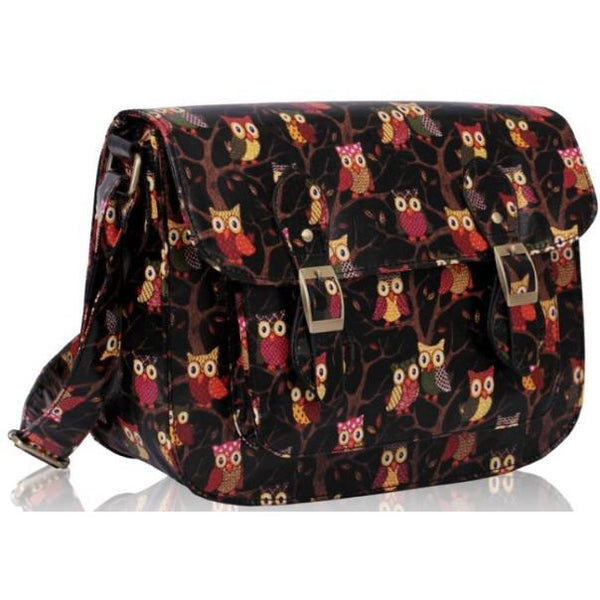 Little Owl - Owl print Oilcloth Satchel Black