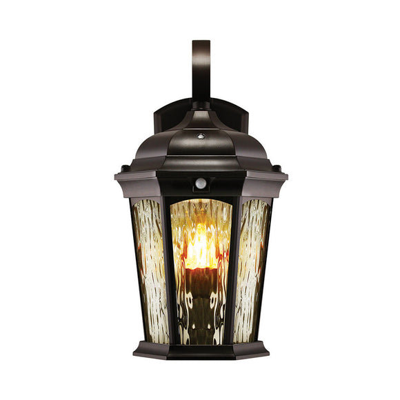 LED Flame Wall Lantern (life like flickering motion) Black Finish | Wall Lights