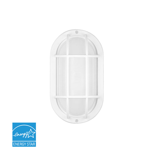 Bulkhead Outdoor LED Wall Light W/Matte White Aluminum Bezel & Ribbed Glass Lens | Wall Lights
