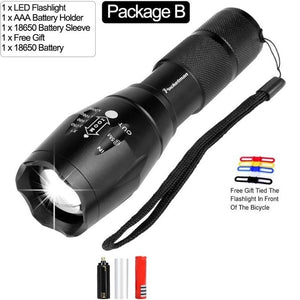 Ultra Bright  8000 LM Led flashlight linterna led torch T6/L2/V6 5 Switch Modes Zoomable Bicycle Light use 18650 battery | Flashlights