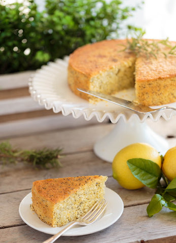 Lemon Cornmeal Poppy Seed Cake with Rosemary-Lemon Syrup Recipe   The Invisible Chef
