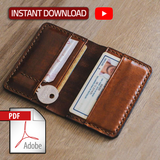 Mens Bifold Vertical Leather Wallet Pattern, Digital Template File, Wallet DIY Pattern,Not The Actual Wallet