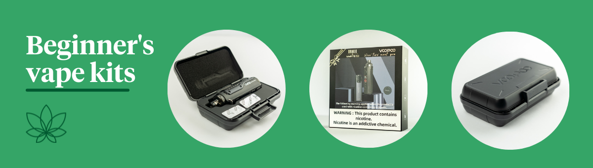 3 images of our beginner's vape kits on a green background with white text reading 'beginner's vape kits'
