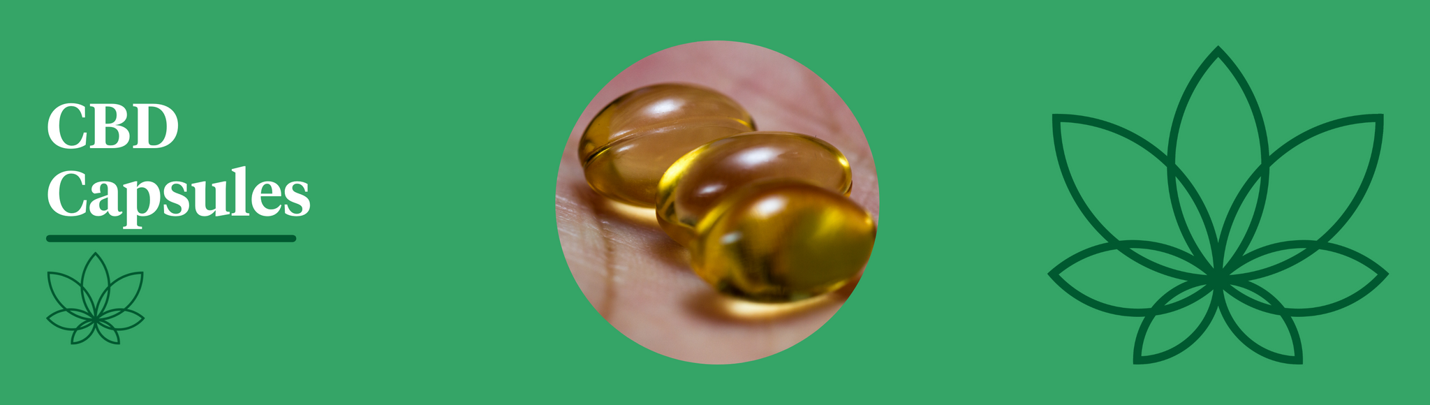 A green background with the Supreme CBD logo to the right with a large image in the centre showcasing a person's hand holding 3 CBD capsules.
