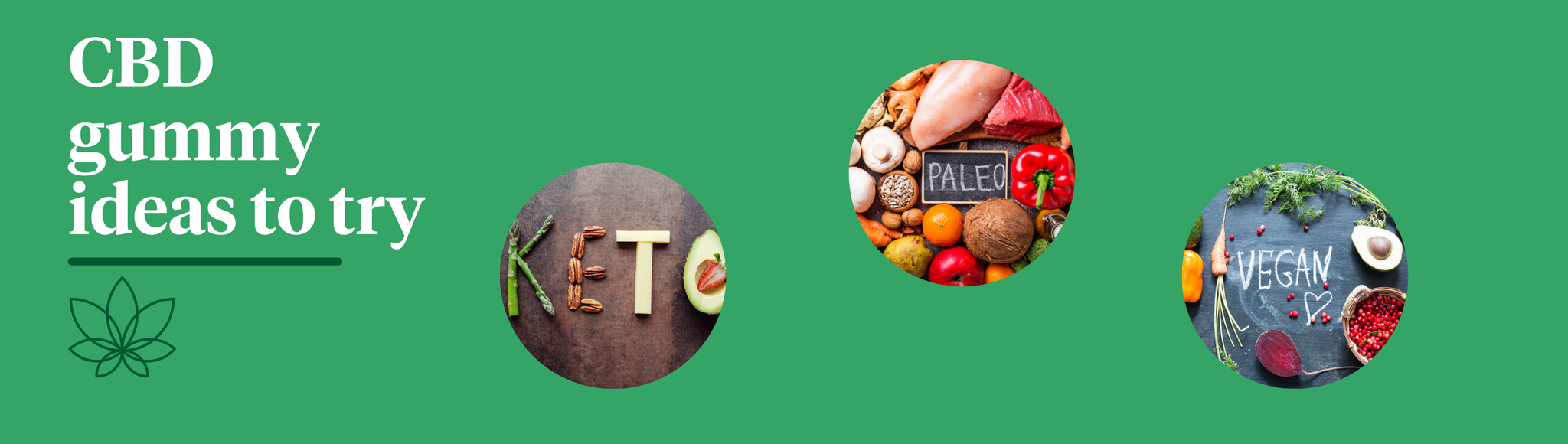 """A green background with the Supreme CBD logo with white text above saying """"CBD Gummy Ideas to Try"""". 3 images shown on the left of 'keto' 'paleo' and 'vegan'."""