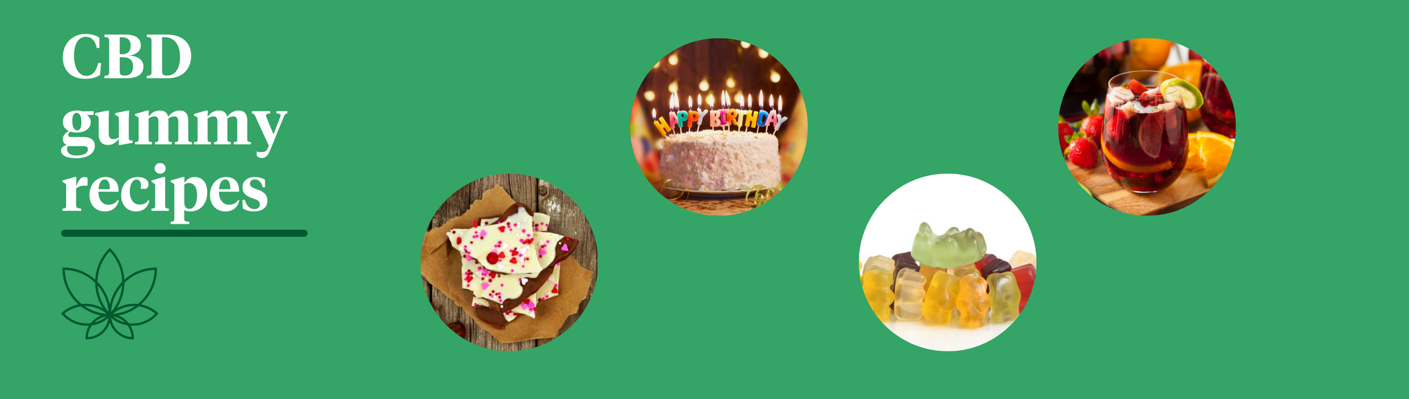 """A green background with the Supreme CBD logo with white text saying """"CBD gummy recipes"""" with four images of white chocolate brittle, a birthday cake, surfing gummy bears and sangria."""