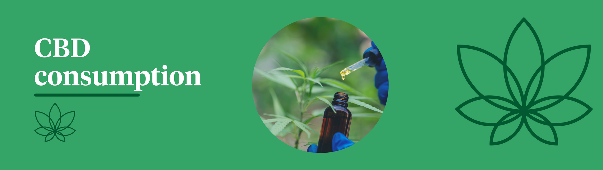 A green background with the Supreme CBD logo to the right and a person injecting CBD oil into a small jar for consumption.