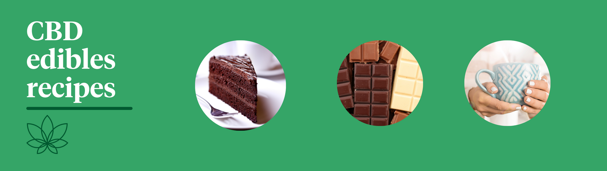 A green background with the Supreme CBD logo showcasing CBD edibles recipes. One image showcasing a chocolate cake, the other shows multiple chocolate bars, one of milk chocolate, two showing dark and a bar of white chocolate. the final image shows a cup of tea.