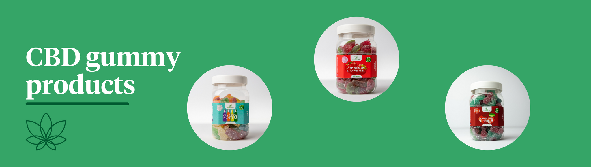 A green background with three images of Supreme CBD products, CBD bottles, CBD strawberries and CBD cherries.