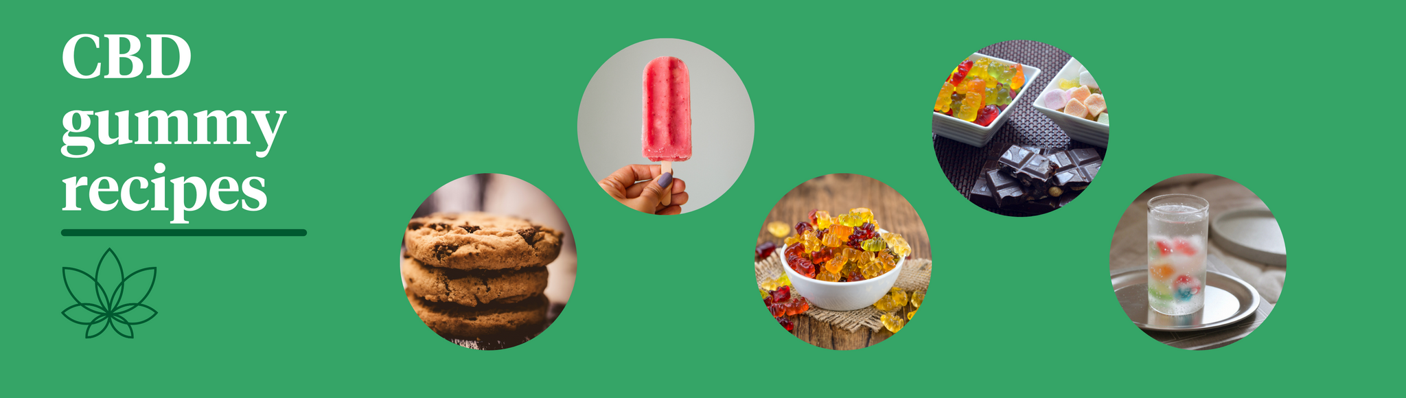 """A green background with the Supreme CBD logo with white text saying """"CBD gummy recipes"""" with 5 images of cookies, lolipops, drunken CBD gummies, chocolate CBD gummies and gummy icecubes."""