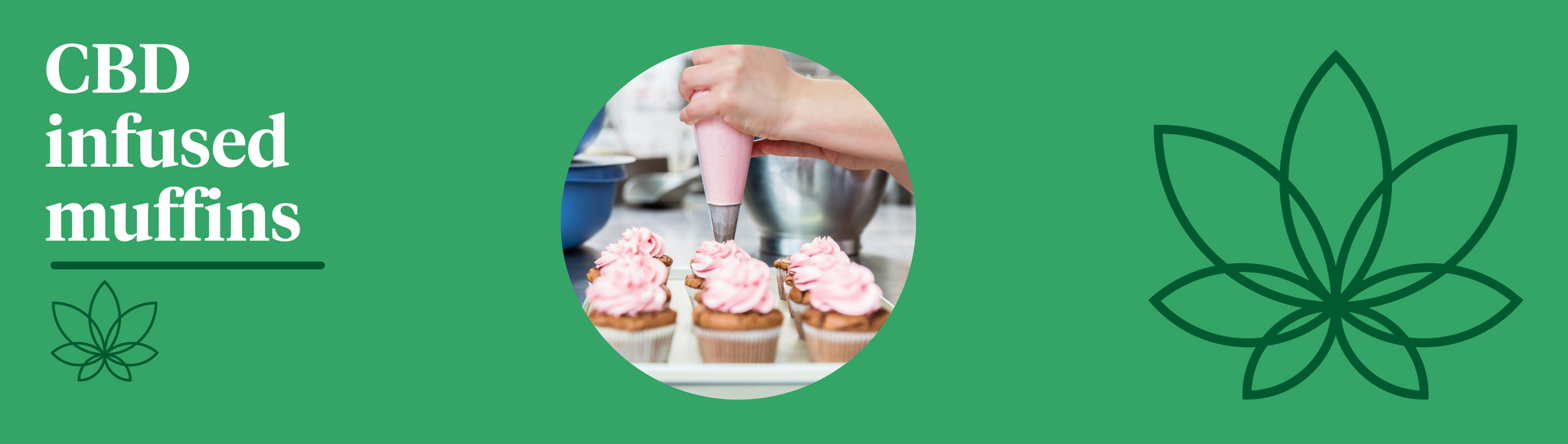 A green background with the Supreme CBD logo to the right and a selection of cbd infused muffins in the centre showing the best way to take CBD oil.