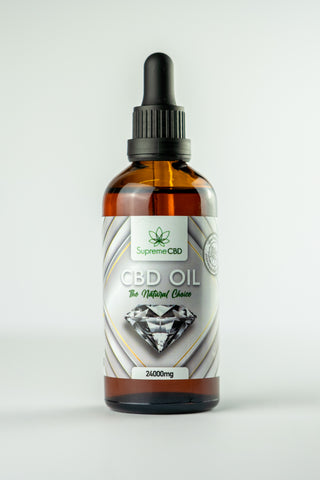 A bottle of Supreme CBD Oil 24000mg on a white background