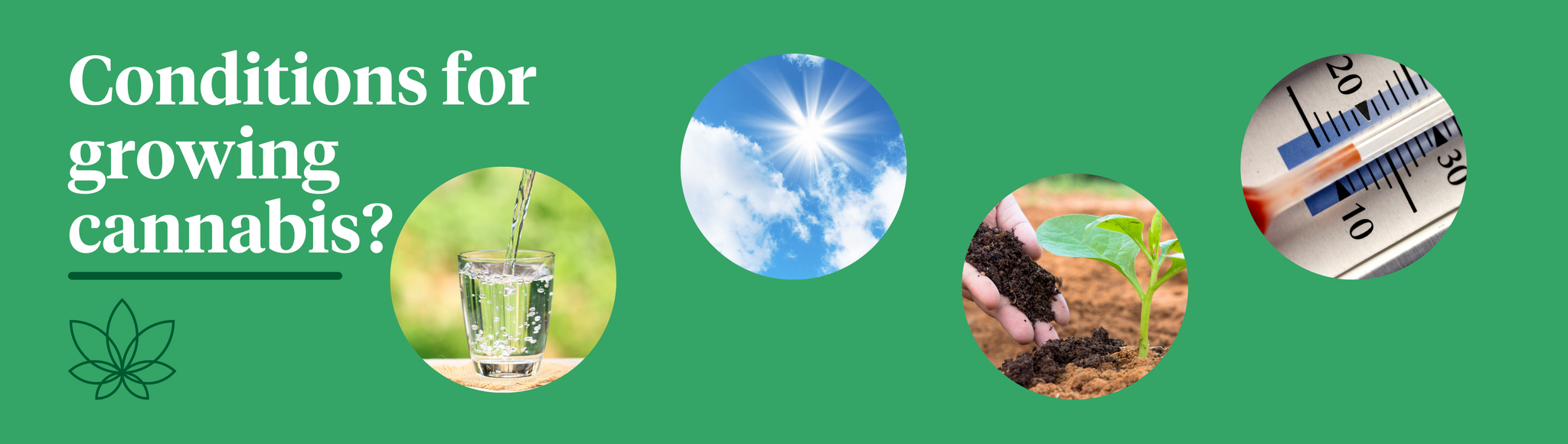 A green background with four images of a glass of water, the sky showing the sun passing over a cloud, a person placing soil and fertiliser underneath a plant and a thermostat.