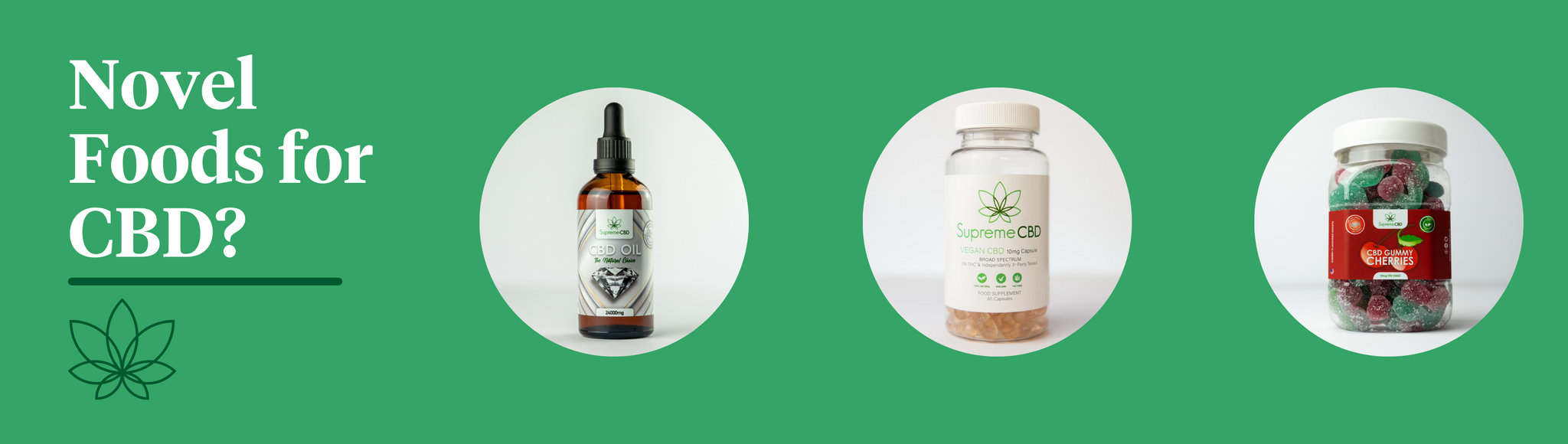 A green background with CBD oil, capsules and gummy cherries to indicate what Novel Foods means for CBD.