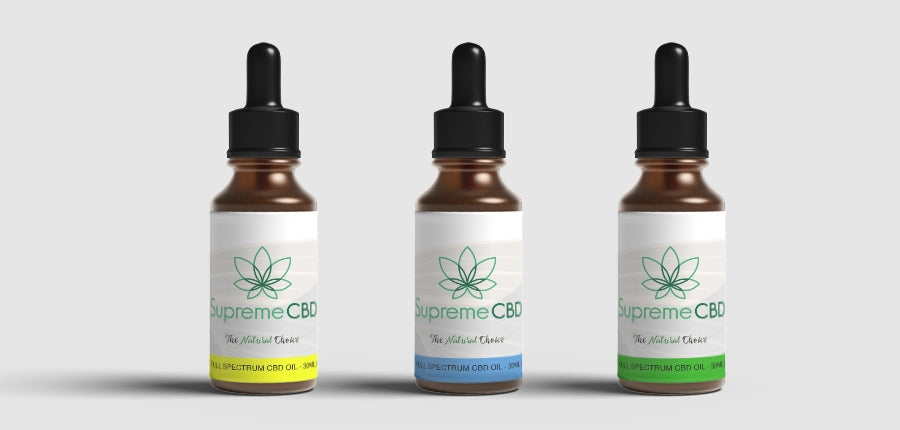 White banner with photographs of different strength Supreme CBD Oil