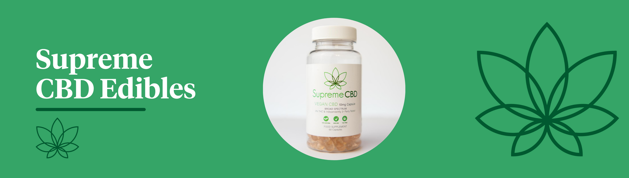 A green background with the Supreme CBD logo to the right and a bottle of Supreme CBD edible capsules in the centre
