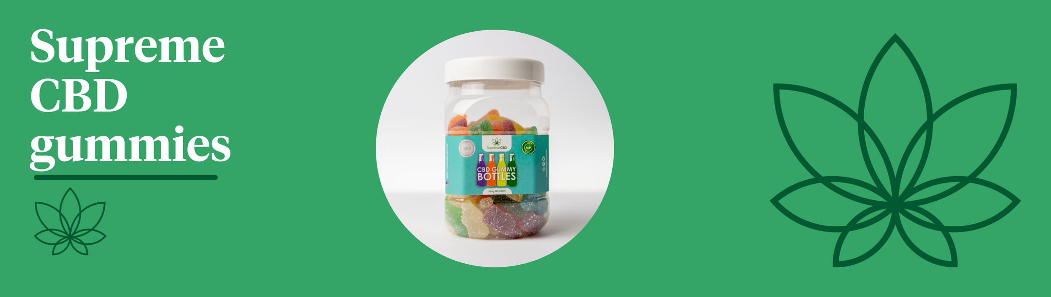 A green background with the Supreme CBD logo and a bottle of CBD gummies in the centre showing Supreme CBD gummies.