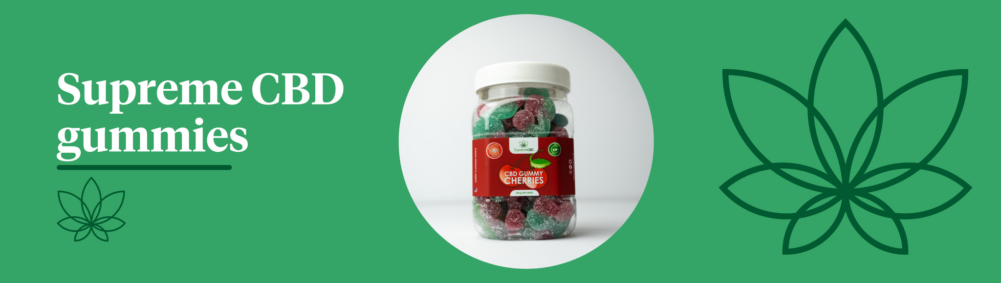 A green background with the Supreme CBD logo to the right with a bottle of Supreme CBD gummies in the centre.