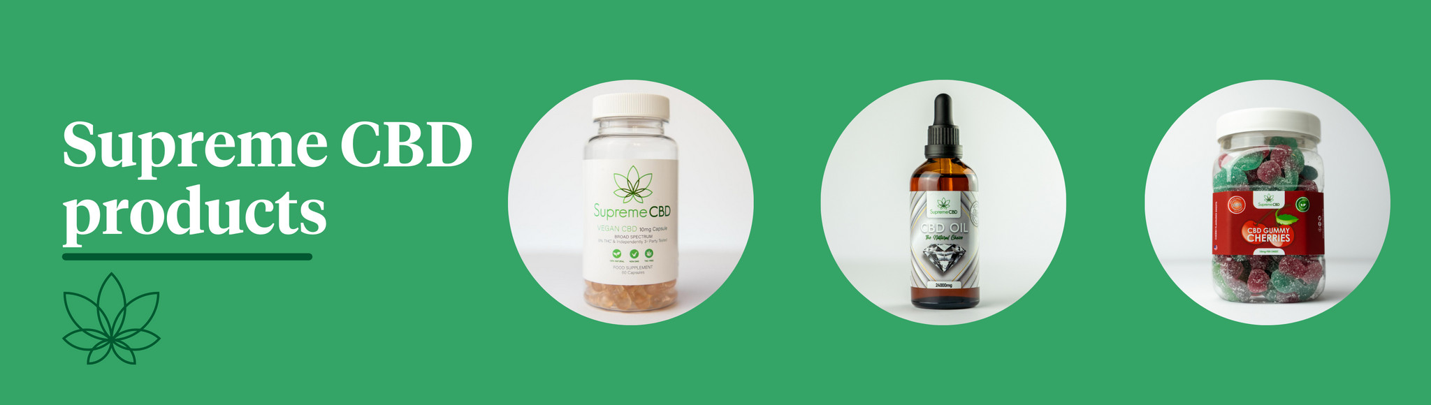 A green background showcasing three highly regarded products by Supreme CBD, the Supreme CBD capsules, the Supreme CBD oil and the Supreme CBD gummies.