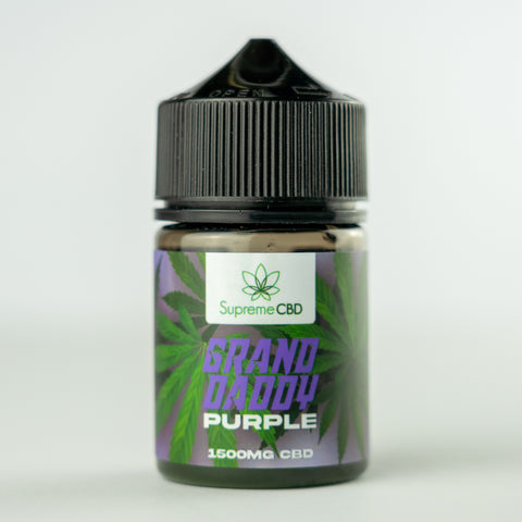 A bottle of Supreme CBD Grand Daddy Purple e-liquid with a green label on a white background.