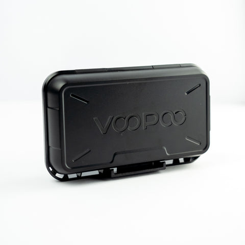 A black Voopoo vape pen box with the Voopoo logo embossed on the lid, on a white background.