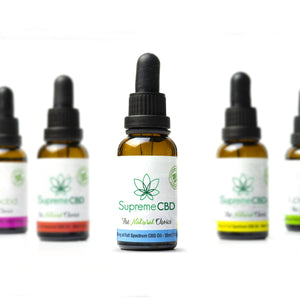 Load image into Gallery viewer, Supreme CBD Full spectrum Oil 30ML (1500MG) next to different strength Supreme CBD oils