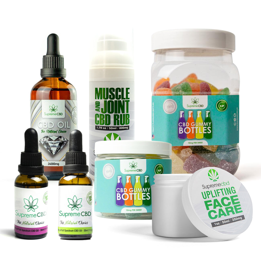 Load image into Gallery viewer, Supreme Mega CBD Starter Pack with our Muscle and Joint CBD Rub, 24000MG CBD Oil, 3000MG CBD Oil, 1000MG CBD Oil, CBD Face Cream, Large Gummy Bottles and Small Gummy Bottles