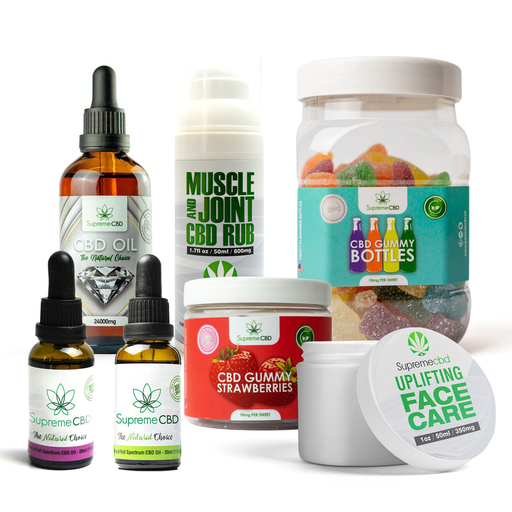 Load image into Gallery viewer, Supreme Mega CBD Starter Pack with our Muscle and Joint CBD Rub, 24000MG CBD Oil, 3000MG CBD Oil, 1000MG CBD Oil, CBD Face Cream, Large Gummy Bottles and Small Gummy Cherries